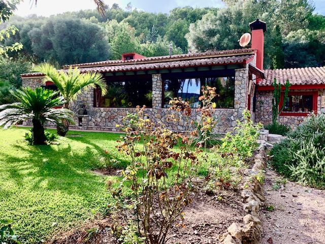 Puigpunyent - traditional stone finca with tropical gardens and fruit trees right in the village